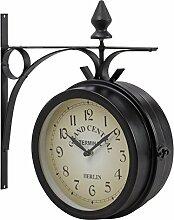 Bahnhofsuhr Wanduhr Küchenuhr Uhr doppelseitig