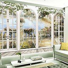 BAHUZHI Wallpaper 3D Stereo Fenster Ansicht Garten