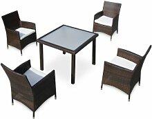 Baidani Gartenmöbel-Sets 10d00015.00001 Designer Lounge-Essgruppe Evolution, 1 Tisch mit Glasplatte, 4 Sessel Sitzauflagen, schwarz