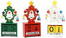 Baiyao 3 Stück Weihnachtsholz Ewiger Kalender -