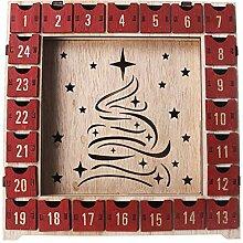 Baiyao Holz Adventskalender Mit LED,Weihnachten