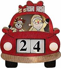 Baiyao Holz Adventskalender Mit LED,Weihnachtsauto