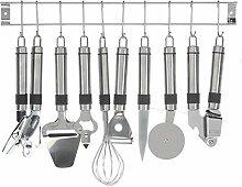 Bakaji 2824379 Küchenutensilienhalter, Edelstahl,