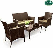 Bakaji Set Möbel Gartenmöbel Set Sitzgruppe Außen für Garten Pool Pavillon RATTAN 4Stück Lounge Sofa + 2Sessel mit Kissen + Tisch mit Glas Farbe Braun