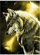 Balain Gold Night Wolf 5D DIY Diamant Gemälde