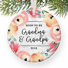 Bald Oma & Opa Sie werden Neue Großeltern in 20181. Schwangerschaft Reveal Weihnachts New Eltern rund Weihnachten Ornament Andenken Xmas Tree Dekoration Hochzeit Jahrestag Geschenkidee