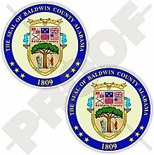 BALDWIN COUNTY Dichtung, Alabama Staat USA Vereinigte Staaten von Amerika Alabaman, Amerikanisch 75mm Auto & Motorrad, Stoßstangen,helm Aufkleber, x2 Vinyl Stickers