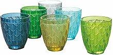 Bali Leaf 6er Set Wassergläser 320ml Glas