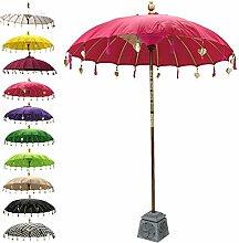 Balinesischer Sonnenschirm Garten Schirm Sonnenschutz Indonesien Handarbeit Retro Vintage Dekoschirm 2-teilig ca. 180 cm Ø Baumwolle Pink