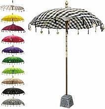 Balinesischer Sonnenschirm Garten Schirm Sonnenschutz Indonesien Handarbeit Retro Vintage Dekoschirm 2-teilig ca. 180 cm Ø Baumwolle Kariert Schwarz Weiß