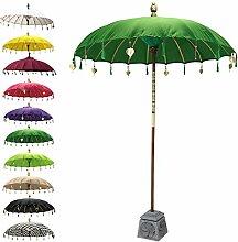 Balinesischer Sonnenschirm Garten Schirm Sonnenschutz Indonesien Handarbeit Retro Vintage Dekoschirm 2-teilig ca. 180 cm Ø Baumwolle Dunkelgrün