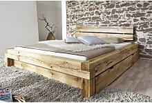 Balkenbett 180x200 Massivholzbett mit Bettkasten
