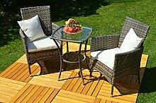 Balkon Bistro-Set Rattan (Tisch+2 Stühle)