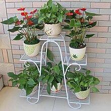 Balkon Blumen Regal Boden Wohnzimmer Innenboden Blumentopf Rack ( Farbe : Weiß , größe : 76*23*73cm )