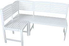 Balkon-Eckbank Balkon-Sitzecke MANILA Holz weiß