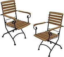 Balkon Klappsessel aus Teak Massivholz Stahl (2er
