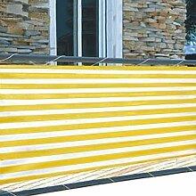 Balkon Sichtschutz 5m Windschutz 2 Farben Lärmschutz Terrasse Gartenzaun Schutz, Farbe:gelb/weiß