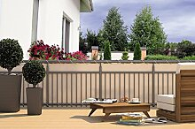 Balkon-Sichtschutz Balkon-Verkleidung Balkonumspannung Balkon-Windschutz CREME beige 24 m Kordel Maße: 600 x 90 cm Polyester