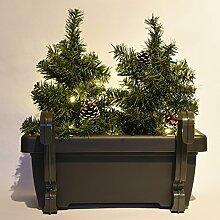 Balkon Weihnachtsbeleuchtung für den Blumenkasten mit 2 x Weihnachtsbäumen beleuchtet + LED-Lichterkette x mas