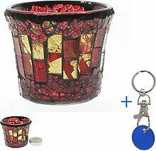 Balkon Windlicht Glas Mosaik #1153 klein rot Mosaikglas Garten Licht Teelich