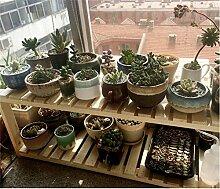 Balkonflur mehrschichtiger Massivholz-Blumenständer Umwelt-Kiefern-Blumenständer Kreativer Fensterrahmen Pflanzenrahmen ( Color : 60cm )