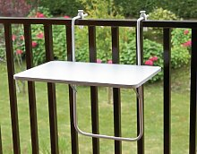 Balkonhängetisch Für Mauerbreite bis 20 cm weiß