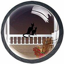 Balkonknäufe mit Katzen und Blumen, rund,
