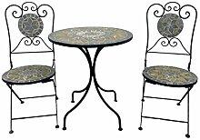 Balkonset 3tlg. Metall Mosaik Gartentisch rund