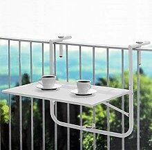 Balkontisch 60x40cm Weiß, Tischplatte klappbar