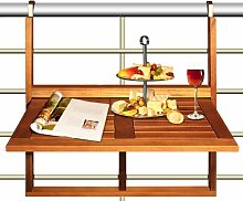 Balkontisch aus Holz, Schnappbefestigung zum