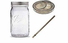 Ball Glass Mason Trinkgläser mit Trinkdeckel und