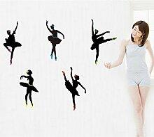 Ballett Dancing Wandtattoo House Aufkleber abnehmbarer Wohnzimmer Tapete Schlafzimmer Küche Art Bild Wandmalereien Sticks PVC Fenster Tür Dekoration + 3D Frosch Auto Aufkleber Geschenk