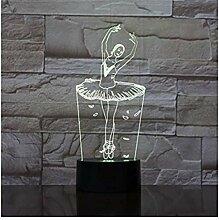 Ballett Mädchen 3D Illusion Lampe USB Hologramm
