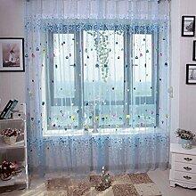 Ballon unelastisch Licht Durchlässigkeit Offsetdruck Organza Fenster Vorhänge Polyester Tüll Vorhänge Fenster screening, 100 * 200cm, 1 Tafel , blue