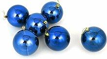 Balls Flitter Weihnachtsbaum hängende Dekoration 10cm Durchmesser 6 PC-Blau