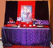 BalsaCircle Purple-Sequin Tablecloth-Rectangle