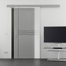 Baltic Design-Dekor Ella Glasschiebetür 8 mm ESG mit Soft Close 2050x1025mm Stangengriff Komplettset Tür und Beschlag