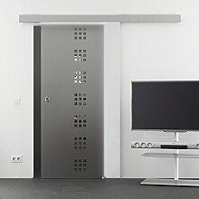 Baltic Design Dekor Fila Glasschiebetür 8 mm ESG mit Soft Close 2050x775mm Muschelgriff Komplettset Tür und Beschlag