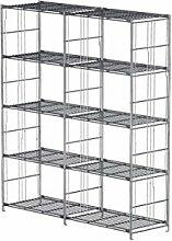 Balton Regal mit 10 Gitterböden BIII, Metall, Chrom, 132 x 38 x 154 cm (Breite x Tiefe x Höhe)