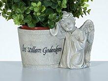 Bambelaa! Grabdeko Blumentopf Engel Pflanztopf Inschrift Steinharz Grau Ca. 18 x 11 x 13 cm Wetterfest Deko für Friedhof Gedenkstein