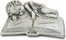 Bambelaa! Grabschmuck Deko Trauerartikel Grab-Engel auf Buch Grau Steinharz Ca. 16 x 12 x 7 cm Wetterfes