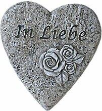 """Bambelaa! Grabschmuck Grabdeko Herz mit Inschrift """"In Liebe"""" aus Steinharz"""