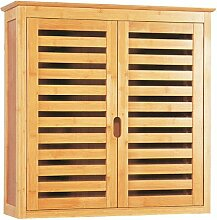 Bambus Badmöbel Schrank Hängeschrank, Lattendesign, 2 Türen, Bad Badezimmer