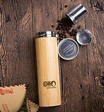 Bambus Becher mit Sieb, 500 ml, lebensmittelechtes