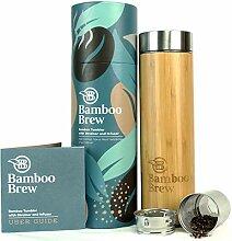 Bambus-Becher mit Sieb und Sieb, 445 ml,