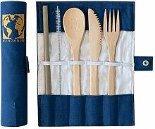 Bambus Besteck Set mit Tasche | nachhaltig und