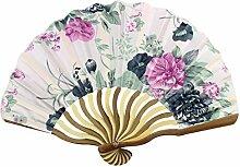 Bambus Blume gedruckt Frauen bewegliche faltbare Handventilator-Kunst-Geschenk