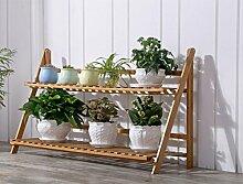Bambus-Blumen-Rack / Wohnzimmer Massivholz mehrschichtige Klapppflanze Rahmen / Balkon Blumentopf Regal ( größe : 50*38*96cm )