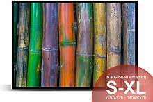 Bambus bunt - Schmutzmatte Bodenvorleger Fußmatte Türmatte Abtreter Abstreifer gummierter Rand Rutschfest waschbar individuell, Mattengröße:85 cm x 60 cm