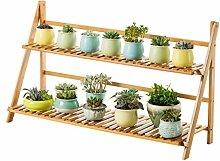 Bambus Doppel Balkonboden Typ Blume Regal, Falten bequemes Wohnzimmer Wohnzimmer Pflanze Blumentopf Regal ( Größe : 70cm )